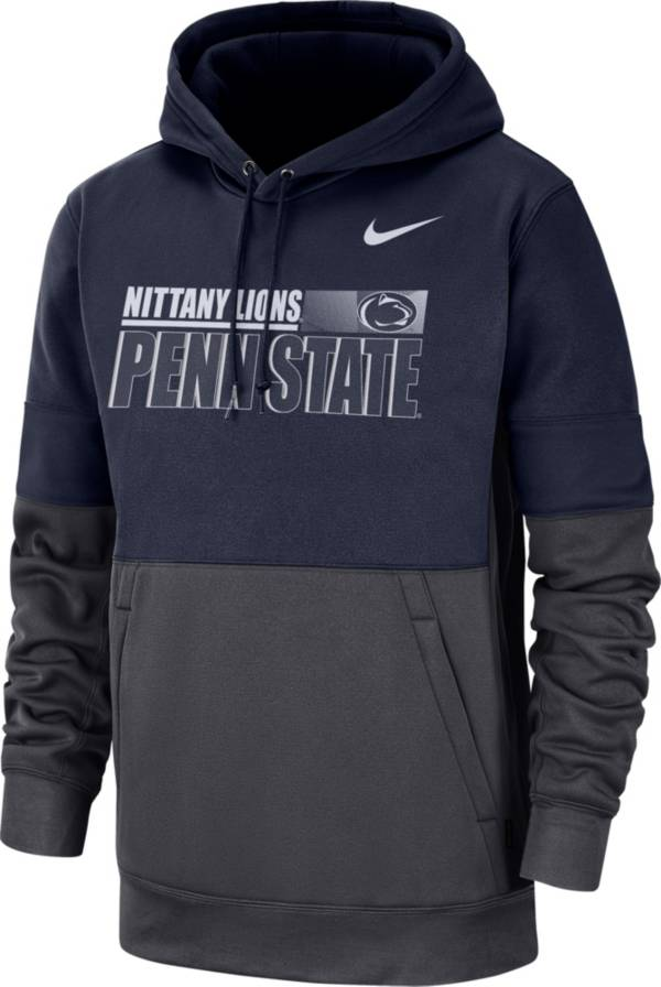 Nike Men's Penn State Nittany Lions Blue Therma-FIT Sideline Fleece Football Hoodie product image