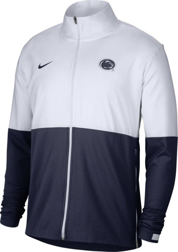 Nike Men's Penn State Nittany Lions White/Blue Colorblock Woven Full-Zip Jacket product image