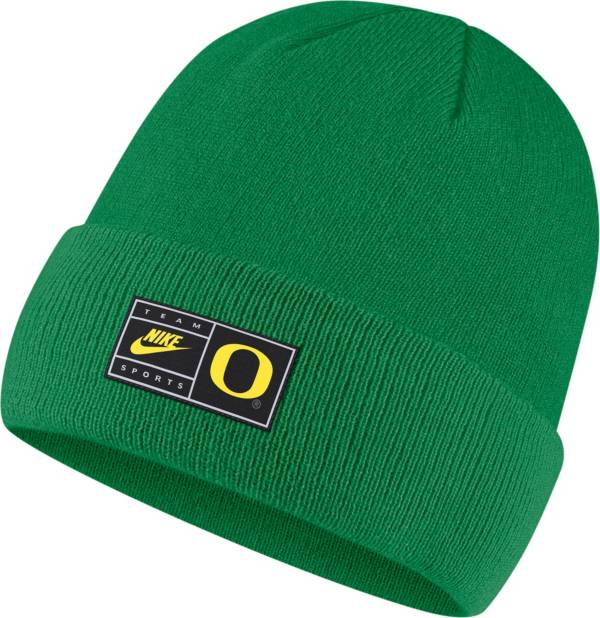 Nike Men's Oregon Ducks Green Throwback Patch Cuffed Knit Beanie product image