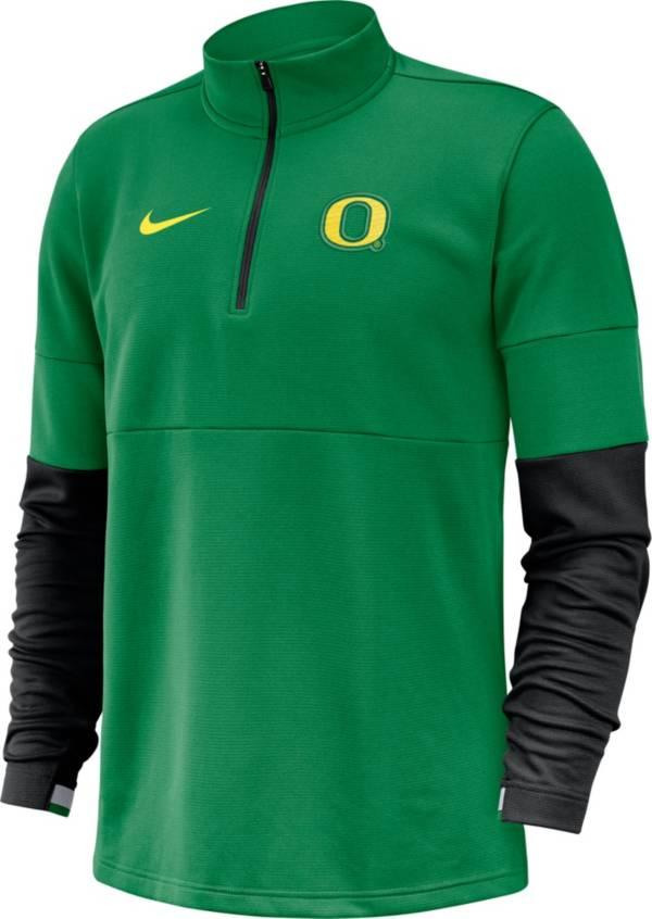 Nike Men's Oregon Ducks Green Football Sideline Therma-FIT Half-Zip Pullover Shirt product image