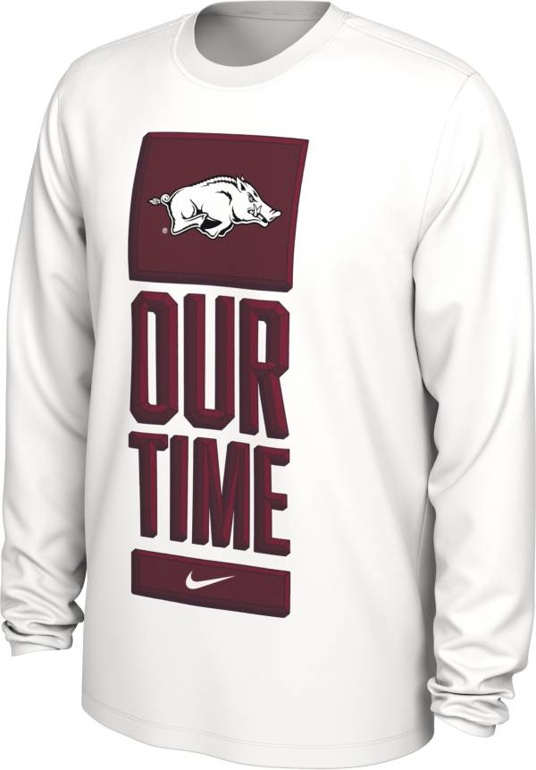 Nike Men's Arkansas Razorbacks 'Our Time' Bench Long Sleeve White T-Shirt product image