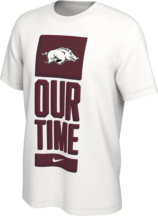Nike Men's Arkansas Razorbacks 'Our Time' Bench White T-Shirt product image