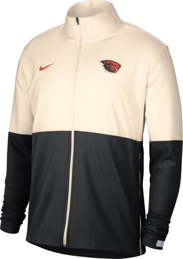 Nike Men's Oregon State Beavers Cream/Black Colorblock Woven Full-Zip Jacket product image