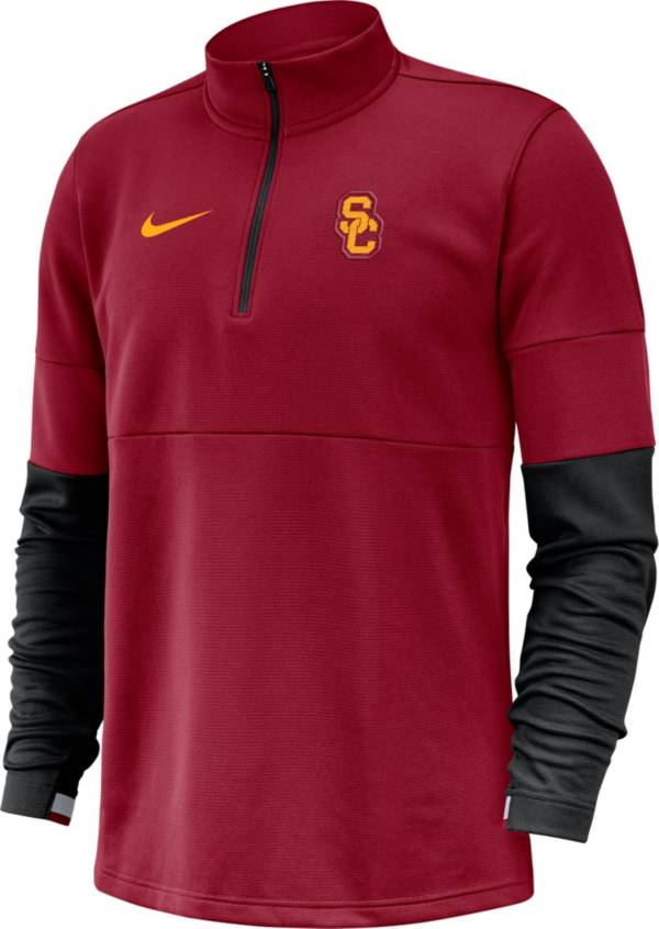 Nike Men's USC Trojans Cardinal Football Sideline Therma-FIT Half-Zip Pullover Shirt product image