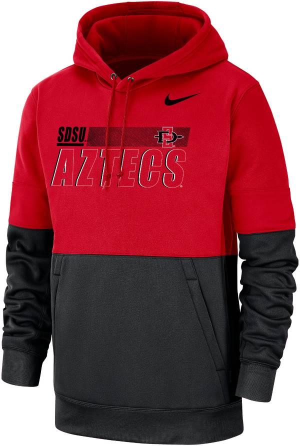 Nike Men's San Diego State Aztecs Scarlet/Black Therma Football Sideline Performance Pullover Hoodie product image