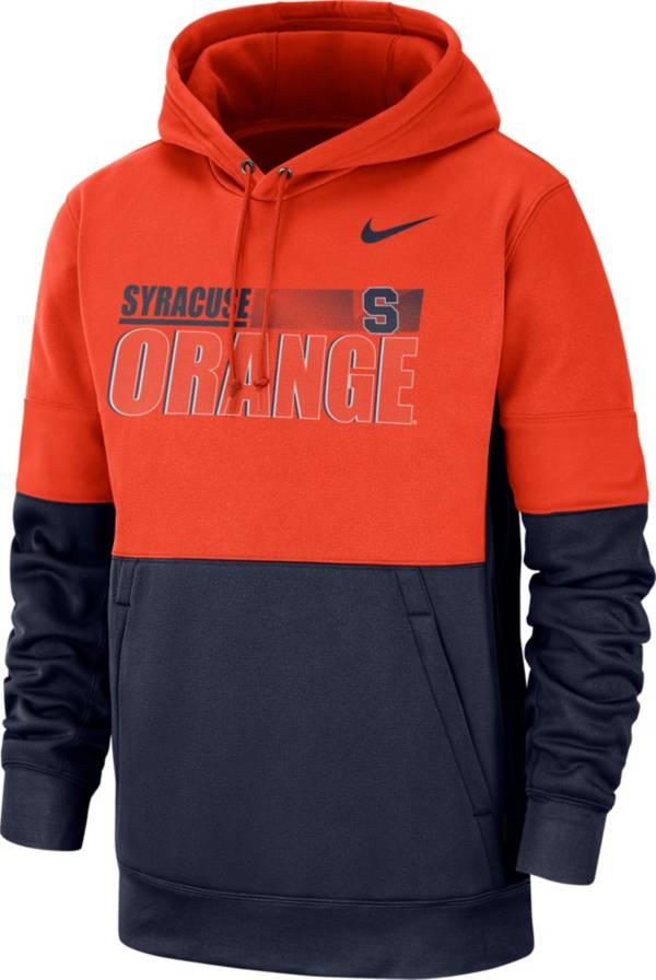 Nike Men's Syracuse Orange Orange Therma-FIT Sideline Fleece Football Hoodie product image