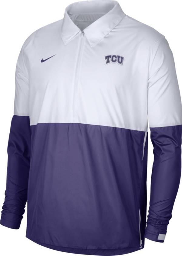 Nike Men's TCU Horned Frogs White/Purple Lightweight Football Coach's Jacket product image