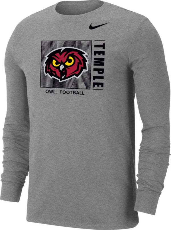 Nike Men's Temple Owls Grey Dri-FIT Long Sleeve Football T-Shirt product image
