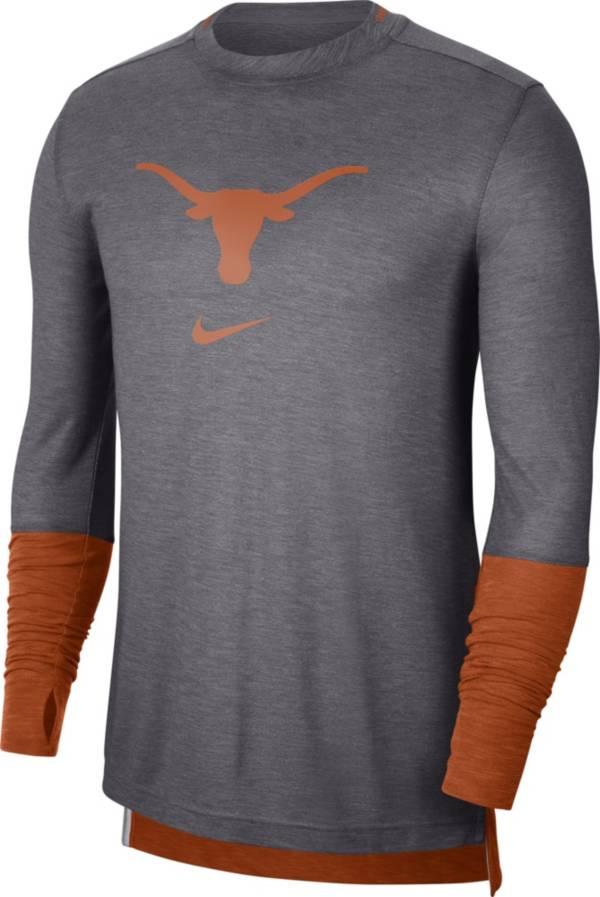 Nike Men's Texas Longhorns Grey Football Sideline Player Breathe Long Sleeve T-Shirt product image