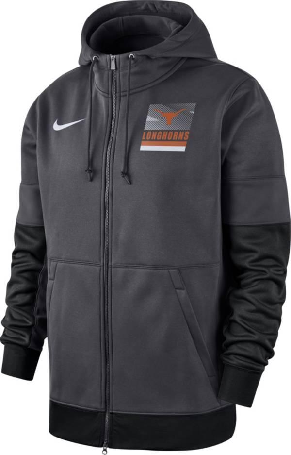 Nike Men's Texas Longhorns Grey Therma Football Sideline Full-Zip Hoodie product image