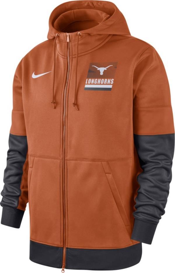 Nike Men's Texas Longhorns Burnt Orange Therma Football Sideline Full-Zip Hoodie product image