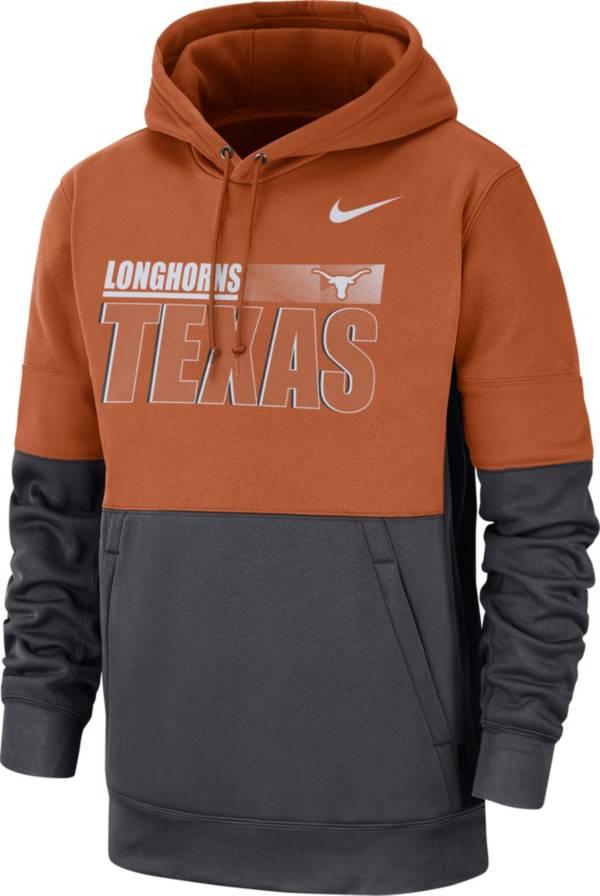 Nike Men's Texas Longhorns Burnt Orange Therma-FIT Sideline Fleece Football Hoodie product image