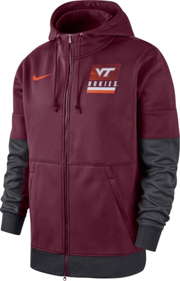 Nike Men's Virginia Tech Hokies Maroon Therma Football Sideline Full-Zip Hoodie product image