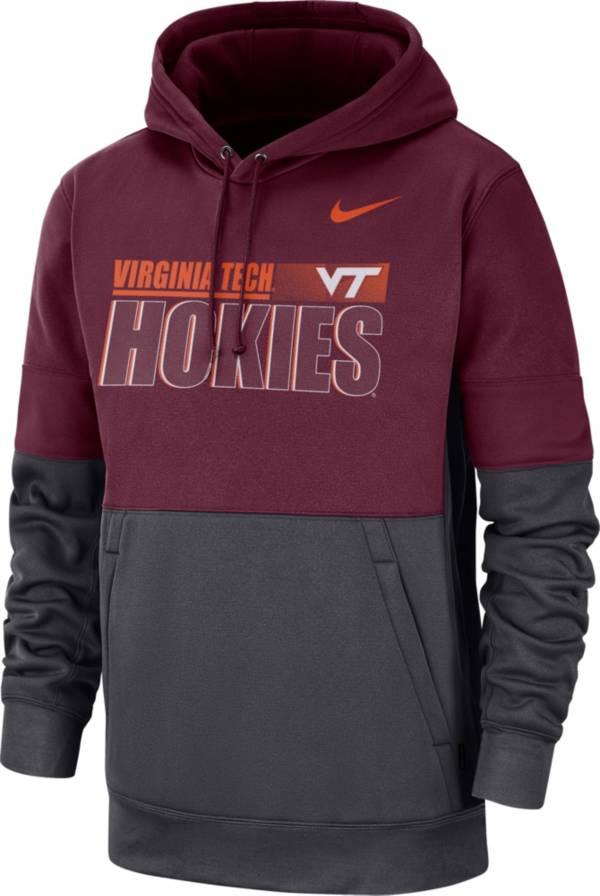 Nike Men's Virginia Tech Hokies Maroon Therma-FIT Sideline Fleece Football Hoodie product image