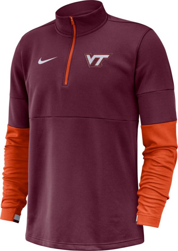 Nike Men's Virginia Tech Hokies Maroon Football Sideline Therma-FIT Half-Zip Pullover Shirt product image