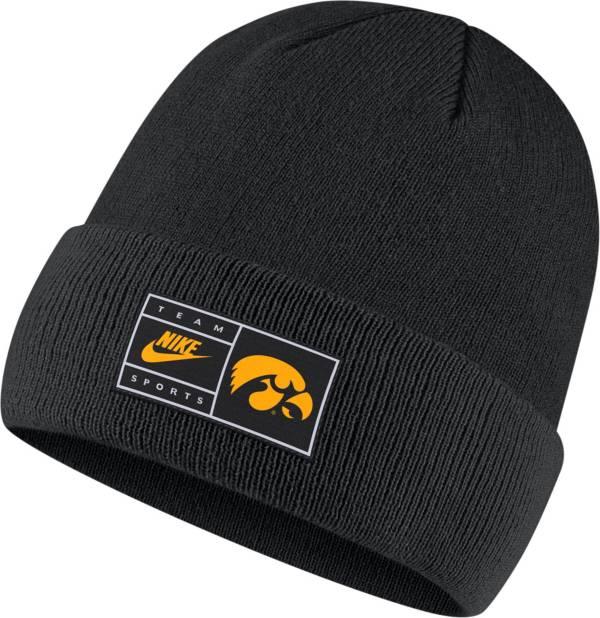 Nike Men's Iowa Hawkeyes Throwback Patch Cuffed Knit Black Beanie product image