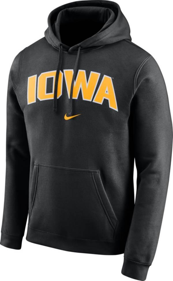 Nike Men's Iowa Hawkeyes Club Arch Pullover Fleece Black Hoodie product image