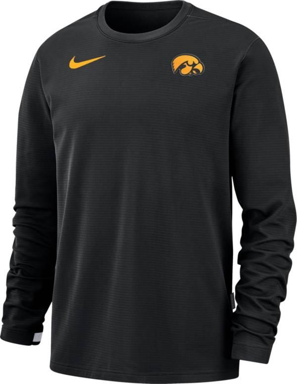 Nike Men's Iowa Hawkeyes Dri-FIT Coaches Pullover Long Sleeve Football Black T-Shirt product image