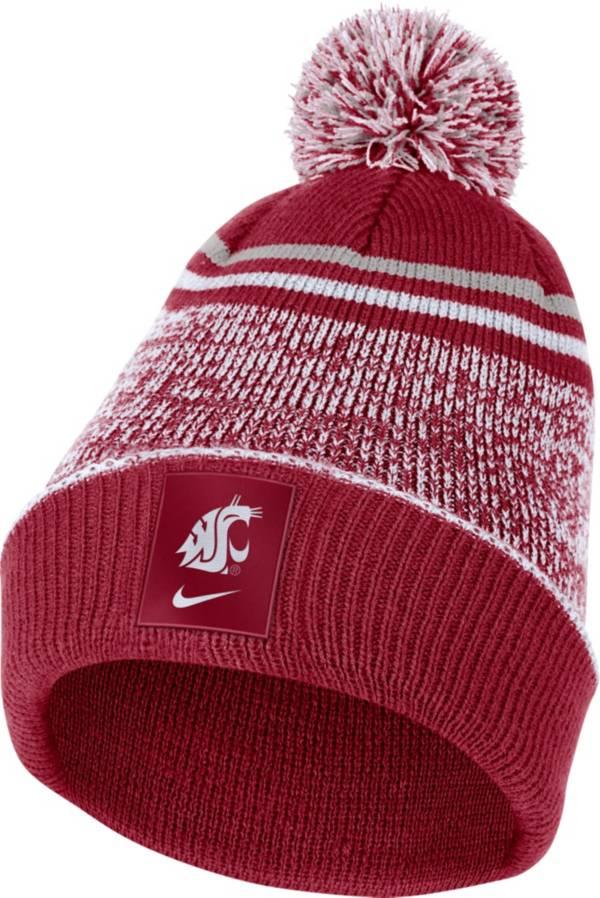 Nike Men's Washington State Cougars Crimson Football Sideline Cuffed Pom Beanie product image