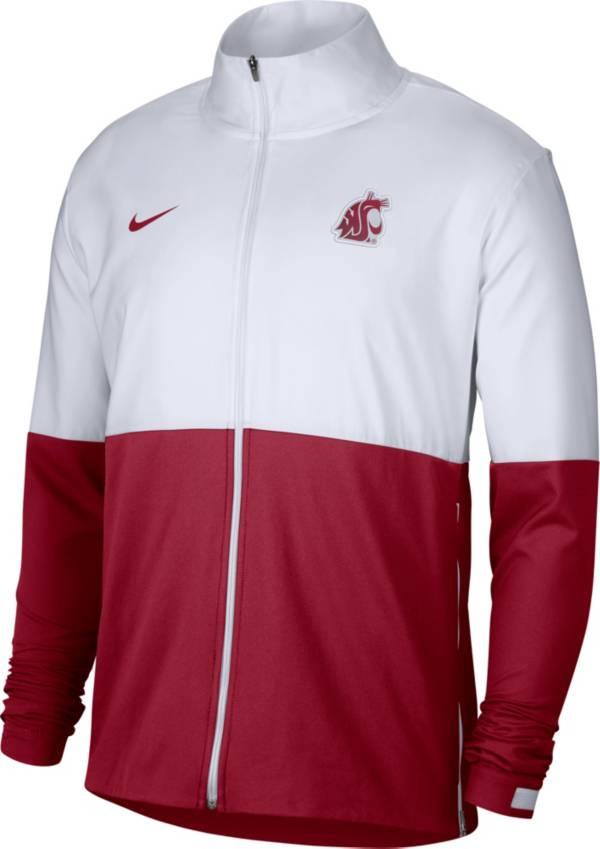 Nike Men's Washington State Cougars White/Crimson Colorblock Woven Full-Zip Jacket product image