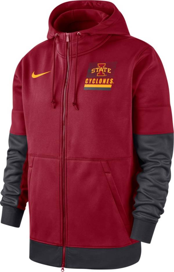 Nike Men's Iowa State Cyclones Cardinal Therma Football Sideline Full-Zip Hoodie product image