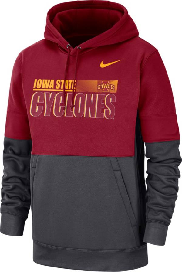 Nike Men's Iowa State Cyclones Crimson Therma-FIT Sideline Fleece Football Hoodie product image
