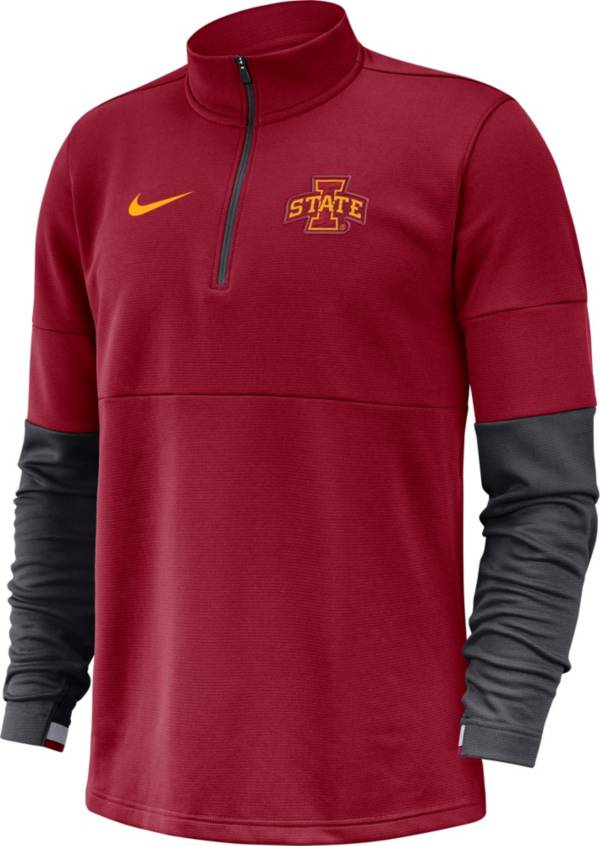Nike Men's Iowa State Cyclones Cardinal Football Sideline Therma-FIT Half-Zip Pullover Shirt product image