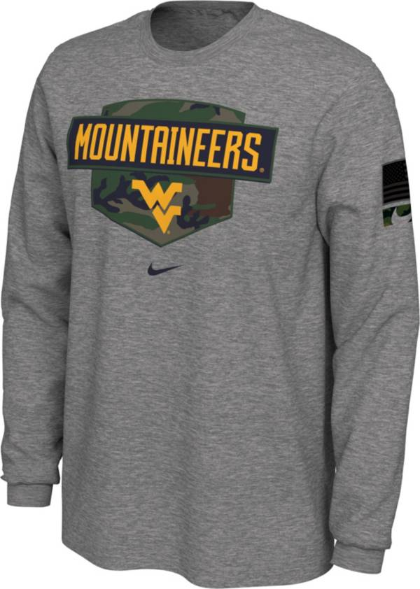 Nike Men's West Virginia Mountaineers Grey 'Veterans Day' Long Sleeve T-Shirt product image