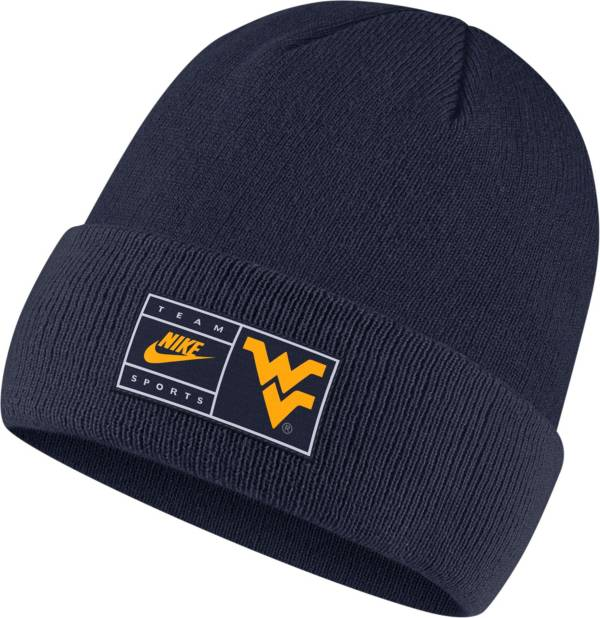 Nike Men's West Virginia Mountaineers Blue Throwback Patch Cuffed Knit Beanie product image
