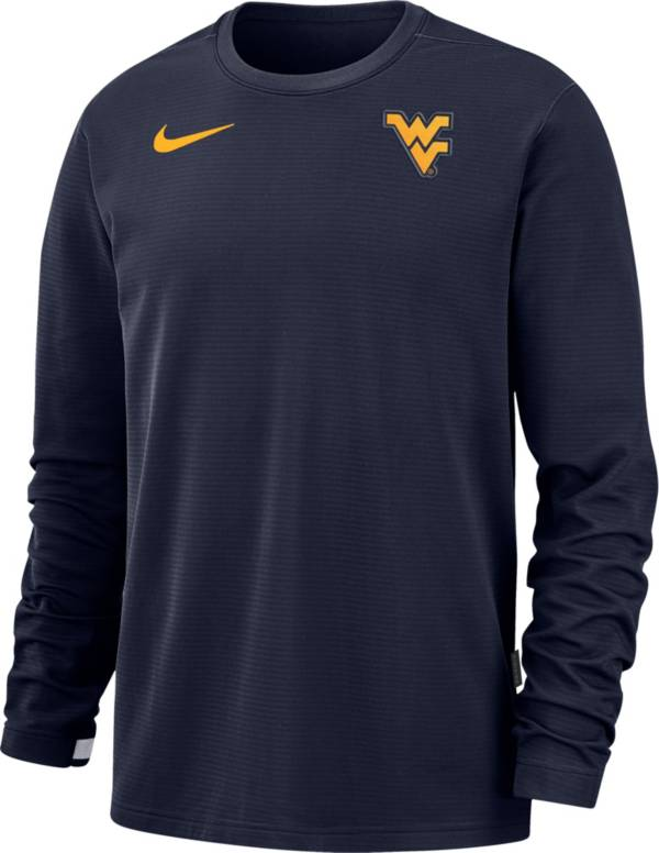 Nike Men's West Virginia Mountaineers Blue Dri-FIT Coaches Pullover Long Sleeve Football T-Shirt product image