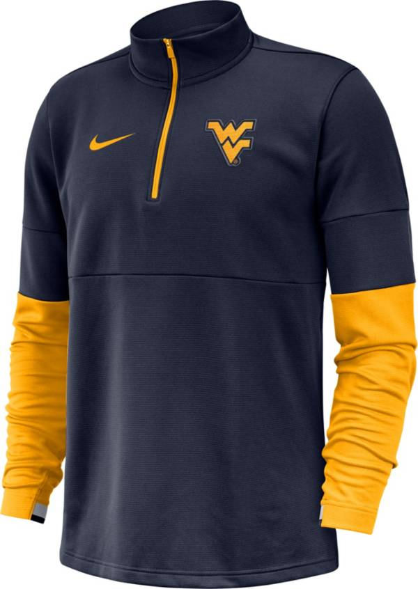 Nike Men's West Virginia Mountaineers Blue Football Sideline Therma-FIT Half-Zip Pullover Shirt product image
