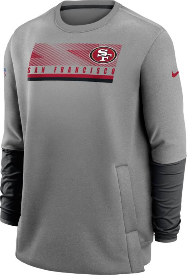 Nike Men's San Francisco 49ers Sideline Coaches Grey Crew Sweatshirt product image