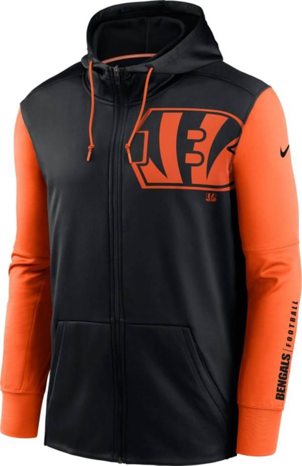 Nike Men's Cincinnati Bengals Color Block Logo Full-Zip Black Hoodie product image