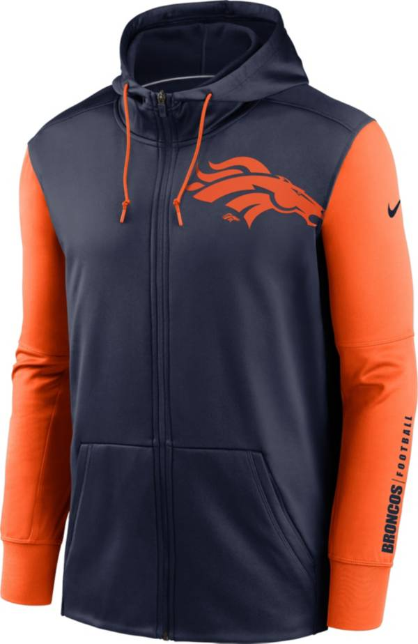 Nike Men's Denver Broncos Color Block Logo Full-Zip Navy Hoodie product image