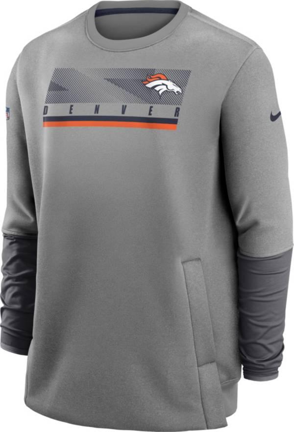 Nike Men's Denver Broncos Sideline Coaches Grey Crew Sweatshirt product image
