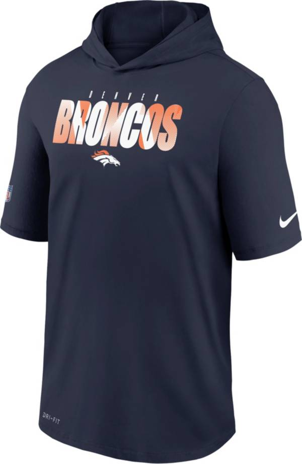 Nike Men's Denver Broncos College Navy Short Sleeve Dri-FIT Training Hoodie product image