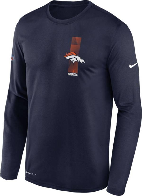 Nike Men's Denver Broncos Sideline Legend Travel Navy Long Sleeve Shirt product image
