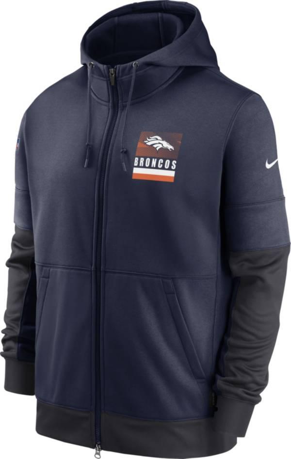 Nike Men's Denver Broncos Navy Sideline Lock Up Full-Zip Hoodie product image