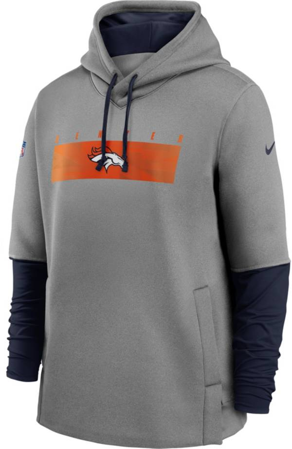 Nike Men's Denver Broncos Grey Sideline Therma-FIT Heavy Hoodie product image