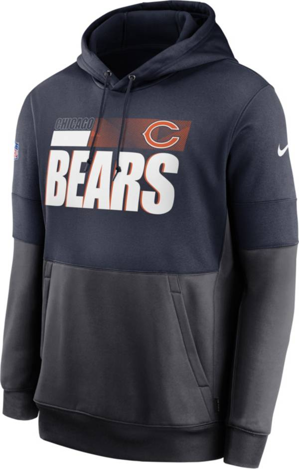Nike Men's Chicago Bears Sideline Lock Up Pullover Navy Hoodie product image