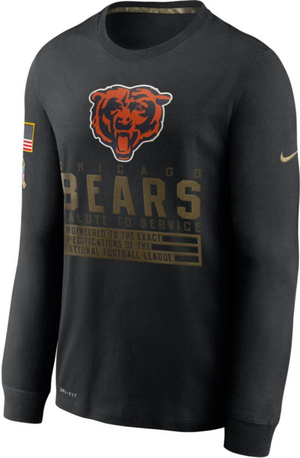 Nike Men's Salute to Service Chicago Bears Black Long Sleeve T-Shirt product image