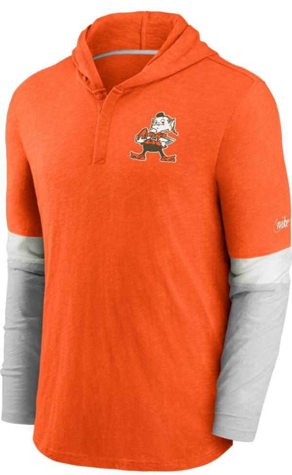 Nike Men's Cleveland Browns Orange Hooded Long Sleeve Henley T-Shirt product image