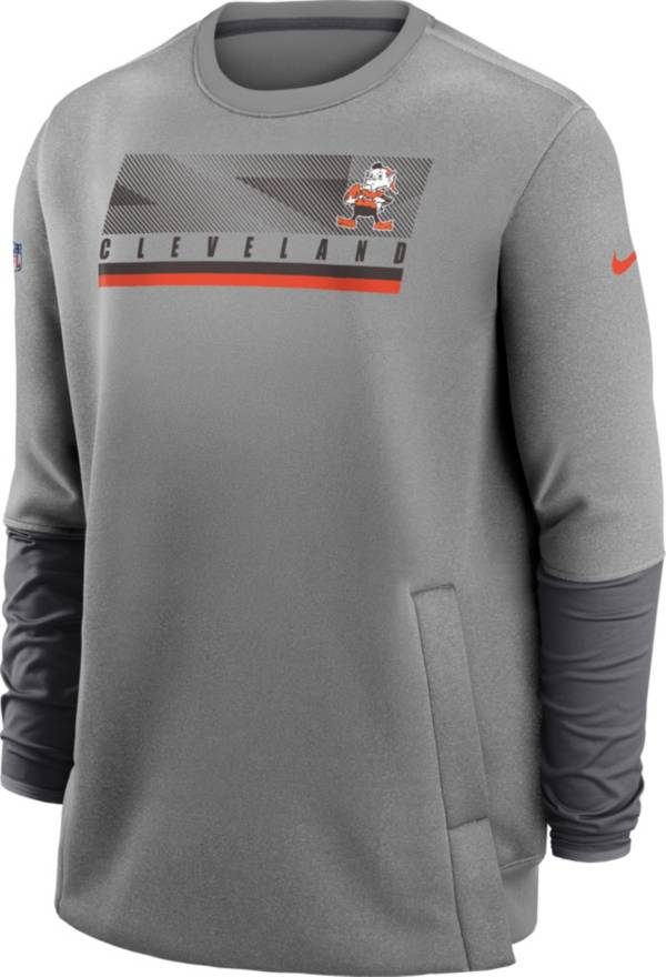 Nike Men's Cleveland Browns Sideline Coaches Grey Crew Sweatshirt product image