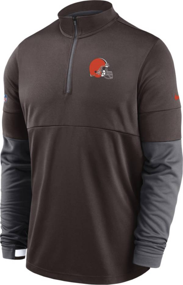 Nike Men's Cleveland Browns Sideline Coach Performance Brown Half-Zip Pullover product image