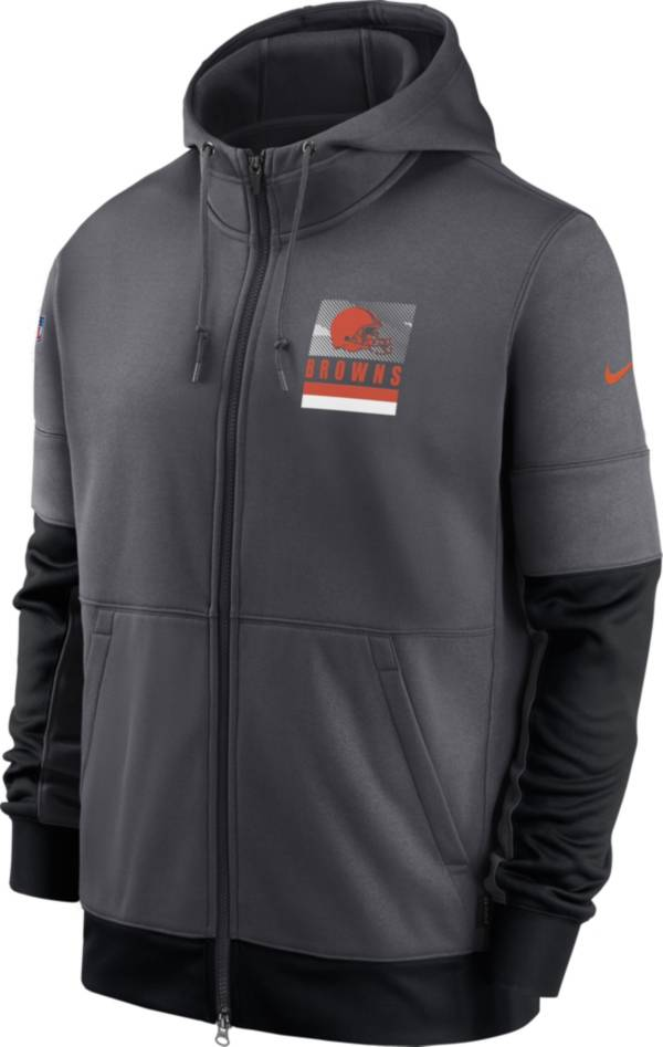 Nike Men's Cleveland Browns Sideline Lock Up Full-Zip Anthracite Hoodie product image