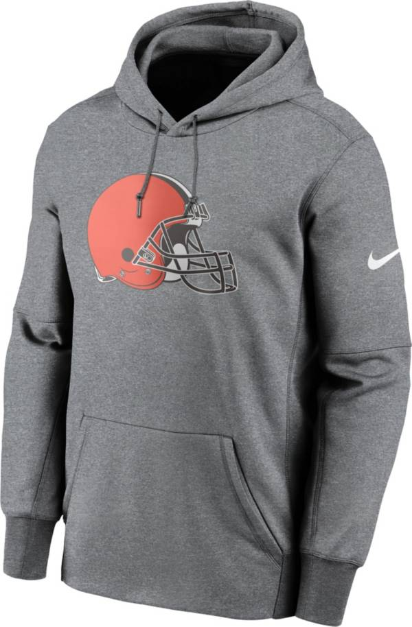 Nike Men's Cleveland Browns Grey Logo Therma Logo Hoodie product image