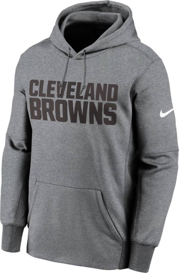 Nike Men's Cleveland Browns Grey Wordmark Therma Logo Hoodie product image
