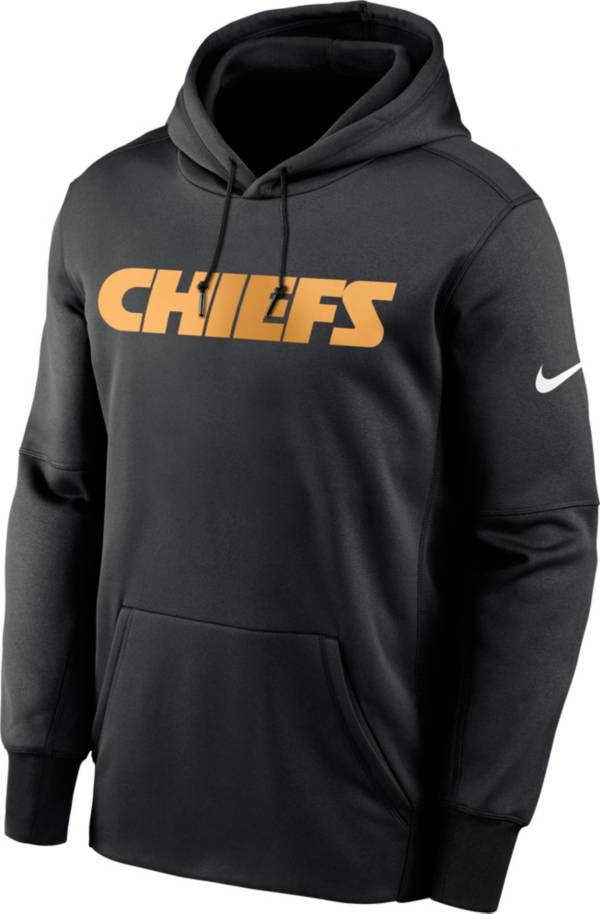 Nike Men's Kansas City Chiefs Sideline Therma-FIT Wordmark Black Pullover Hoodie product image