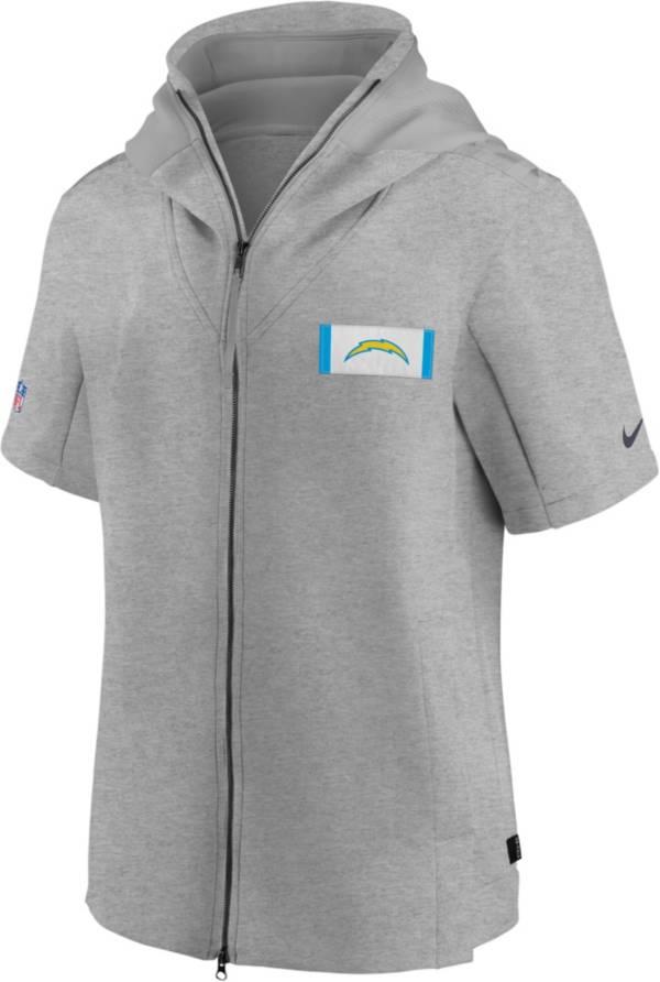 Nike Men's Los Angeles Chargers Grey Sideline Showout Short Sleeve Full-Zip Hoodie product image