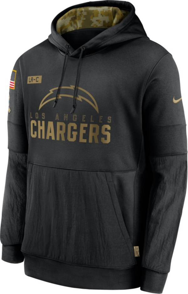 Nike Men's Salute to Service Los Angeles Chargers Black Therma-FIT Pullover Hoodie product image